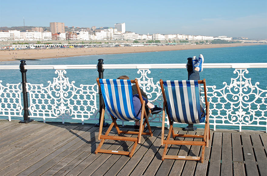 View of Brighton beach from the Palace Pier
