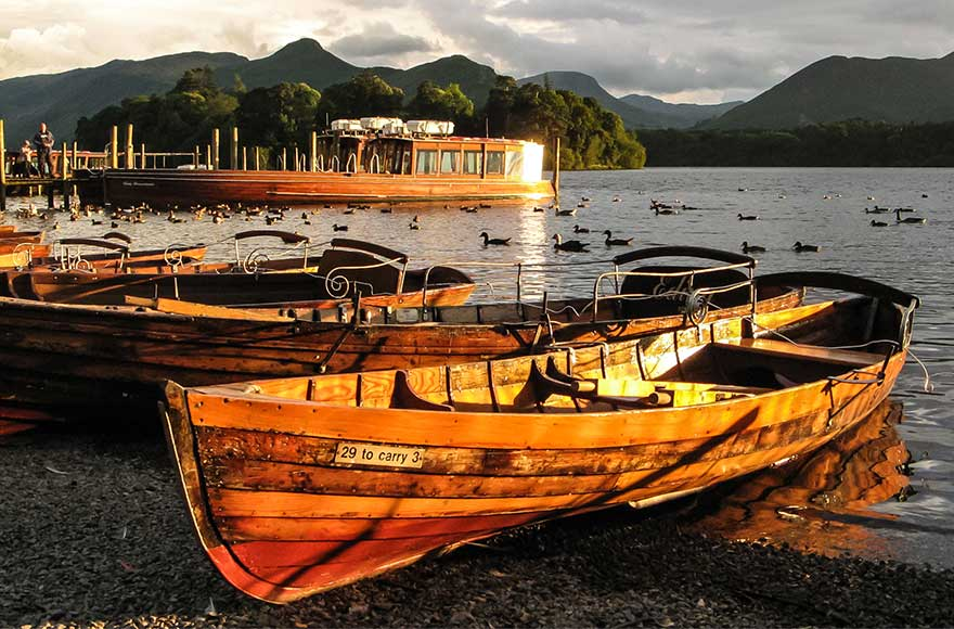 Beached boats on Derwentwater