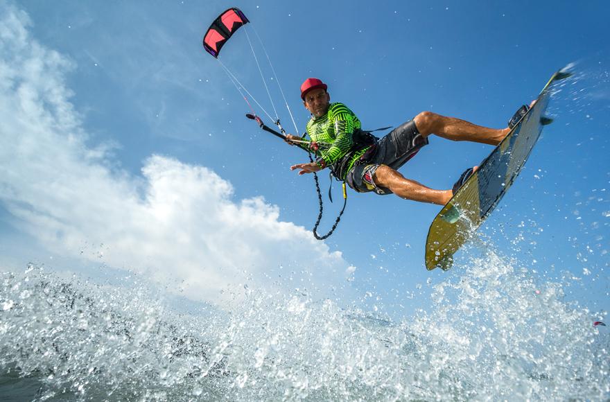 Kite surfing action