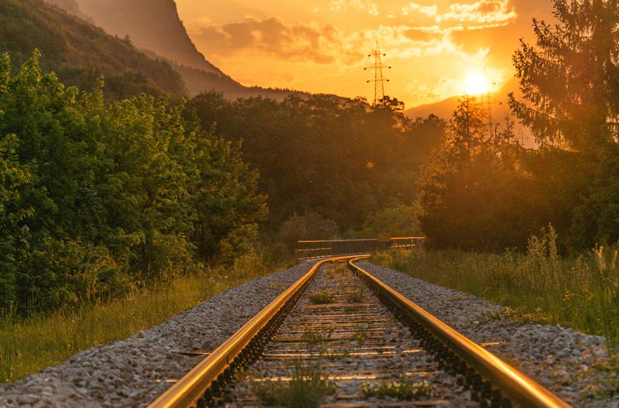 Train track at sunset