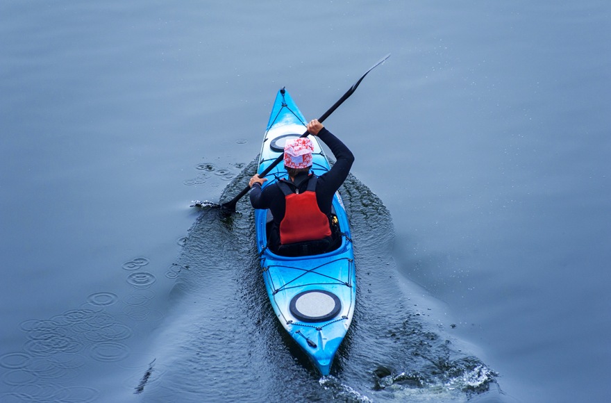 Kayaking on Freshwater East Beach