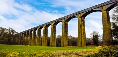 Arches of Pontcycsyllte Aqueduct, tallest aqueduct in Wales