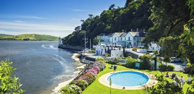 Houses and swimming pool along coast of Portmeirion