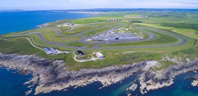 Anglesey Circuit in Wales, adjacent Irish Sea