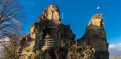 Ruined battlements of historic Knaresborough Castle