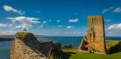Ruins of Scarborough Castle overlooking Yorkshire coast