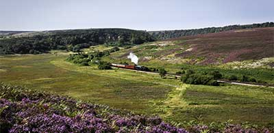 Steam train travelling along North York trainline in Moors
