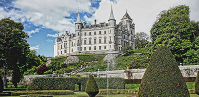 Sculpted bushes in Dunrobin Castle gardens in Scotland