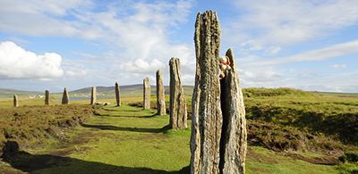 Rustic upright stones in the neolithic ring of Brodgar