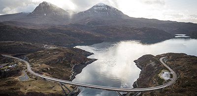 Bird's eye view of Kylesku Birdge and surrounding river and mountains