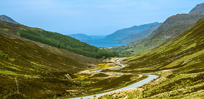 The valley of Loch Maree, sandwiched between two grassy knolls