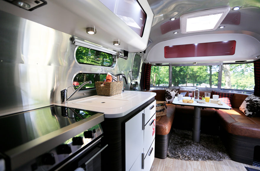 Enjoy all your home comforts in one of our Airstream caravans, including a gas hob, oven and grill