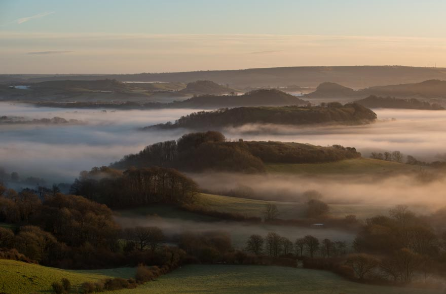 Morning mist over Bridport in Dorset