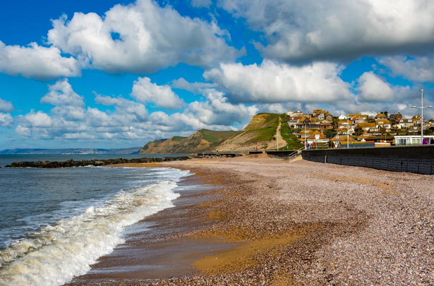 West Bay beach near Bridport in Dorset