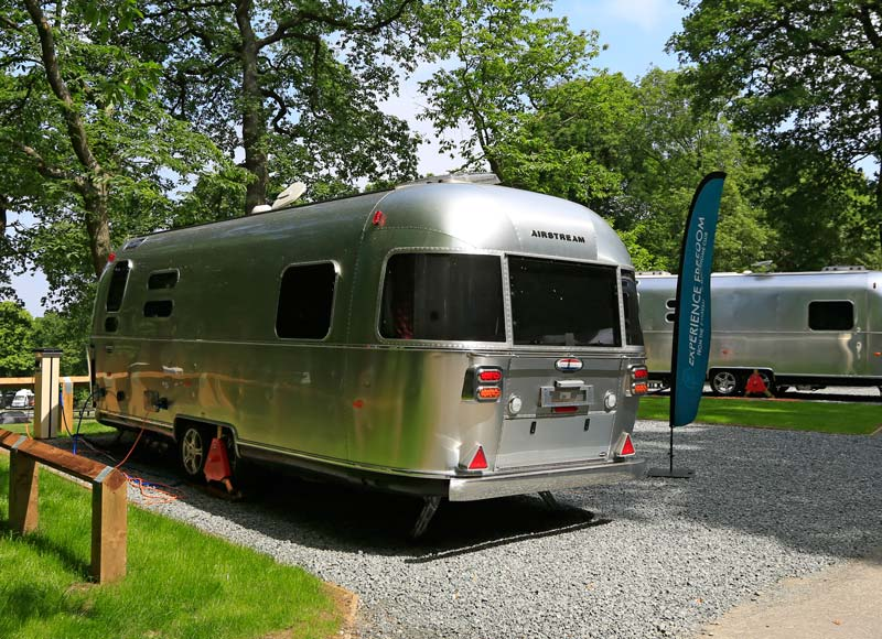 Airstream caravan at Abbey Wood glamping site