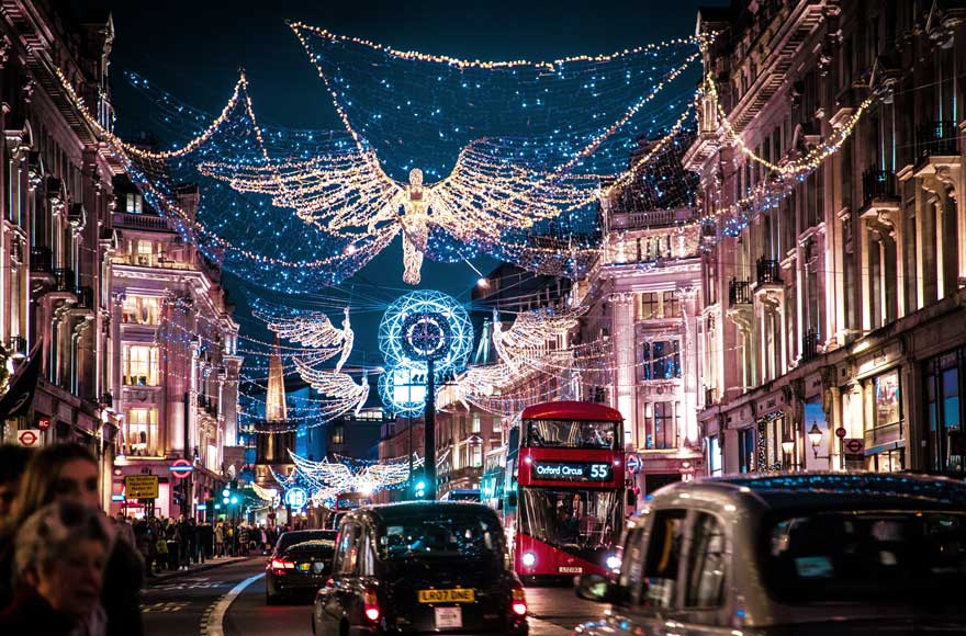 Christmas lights over Oxford Street in London