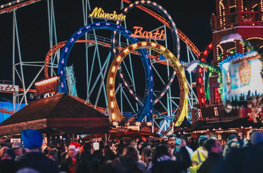 Lights, rides and attractions at Winter Wonderland in Hyde Park