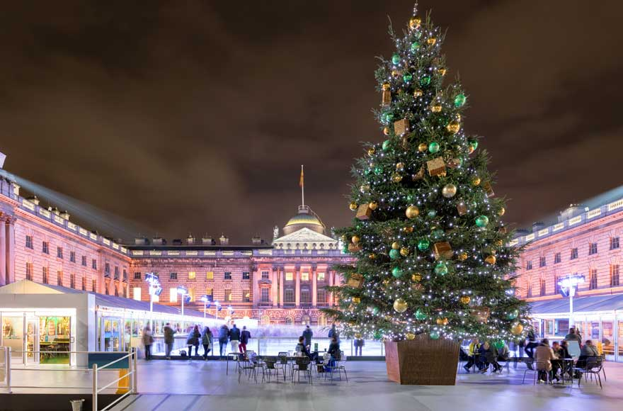 Large Christmas Tree and skating rink in front of Somerset House