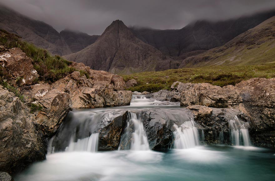 Cascading waterfall at Fairy Pools on the Isle of Skye