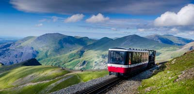 Tram riding along cliff faces of Mount Snowdon