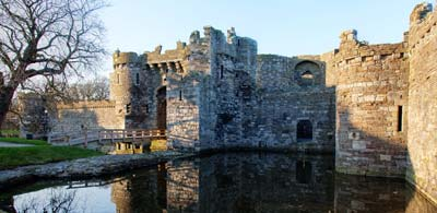 Moat and castle walls around Beaumaris Castle