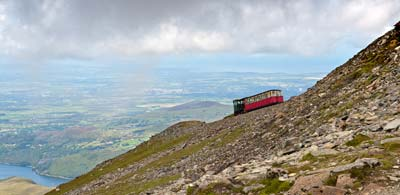 Snowdon's railway line carrying passengers down mountain side