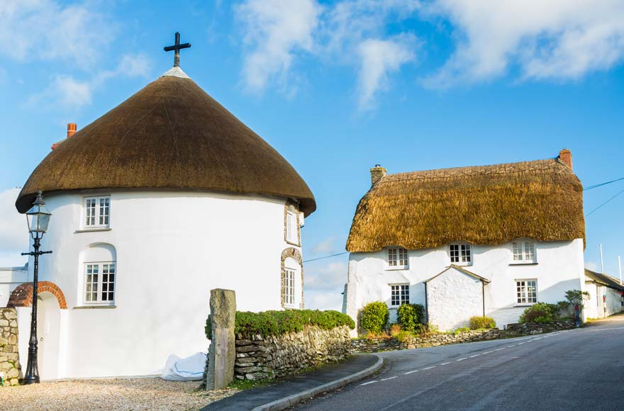 Explore historic, thatched houses in Veryan, less than 10 minutes from site