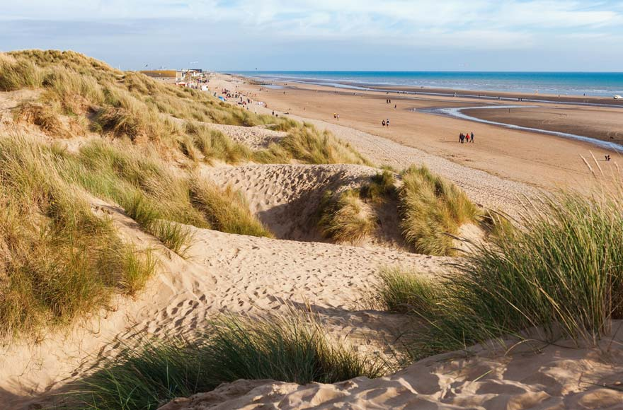 The sand dunes of Camber Sands are roughly half an hour from site