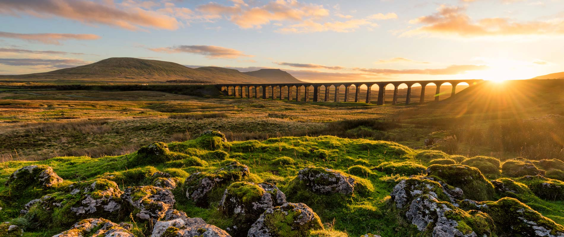 Ribblehead viaduct in North Yorkshire Dales, with moss-covered rocks in the foreground and green open spaces