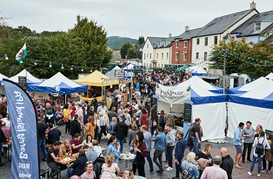 Bustling crowds at Abergavenny Food Festival