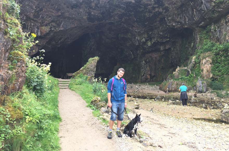 Man and his dog at Smoo Cave