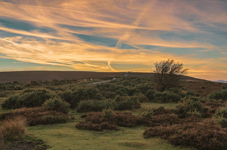 Enjoy an evening sunset over Exmoor National Park