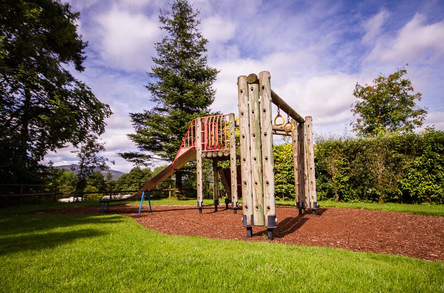 Play area and slide outdoors