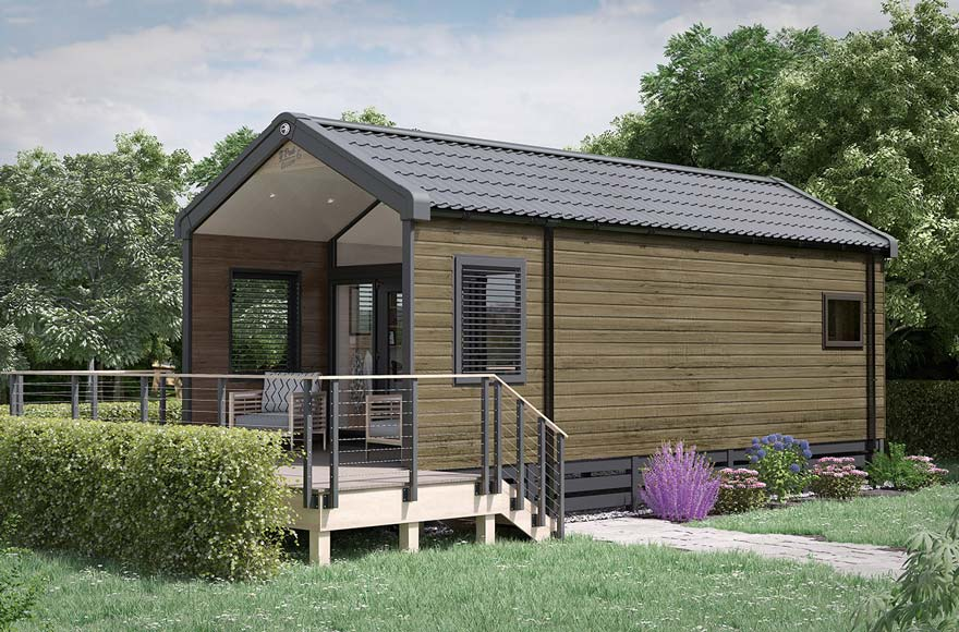 Glamping cabin exterior