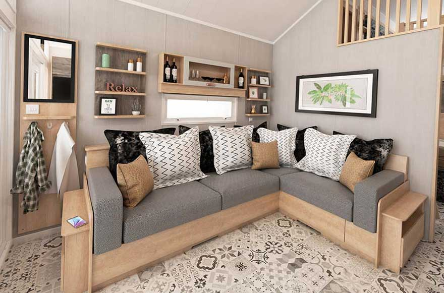 Grey and wood sofa in a cosy living area
